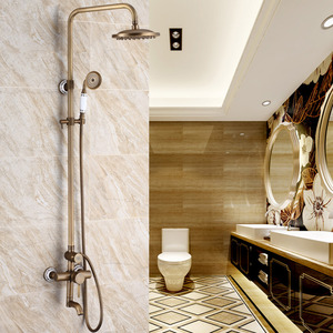 Luxury Ceramic Antique Brass Outside Shower Faucet System