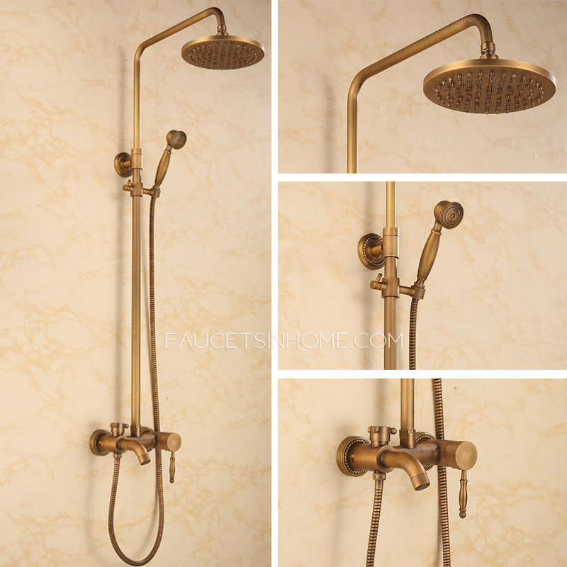 Chic Vintage Brass Shower Faucet With Top And Hande Shower