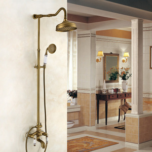 Antique Brass Outside Wall Mount Ceramic Shower Faucets System