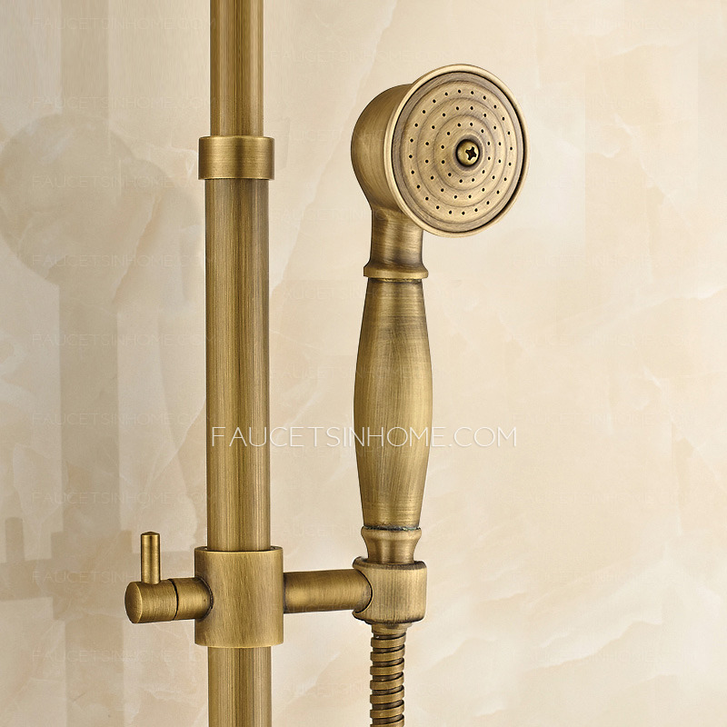Brass Lotus Top Shower Faucet System With Hand Shower