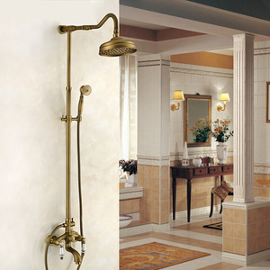 Antique Brass Lotus Top Shower Faucet System With Hand Shower