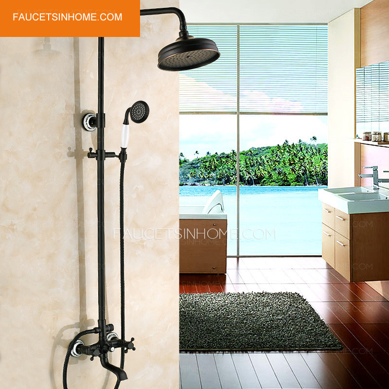 Vintage Oil Rubbed Bronze Brass Cross Handle Shower Faucets System