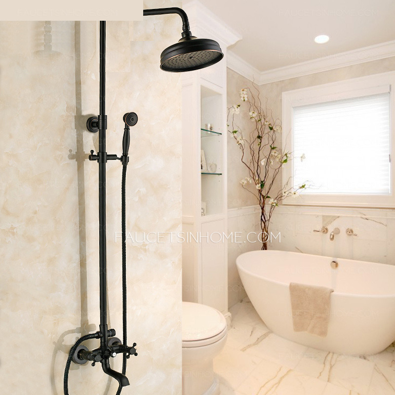 Black Oil Rubbed Bronze Cross Handle Exposed Shower