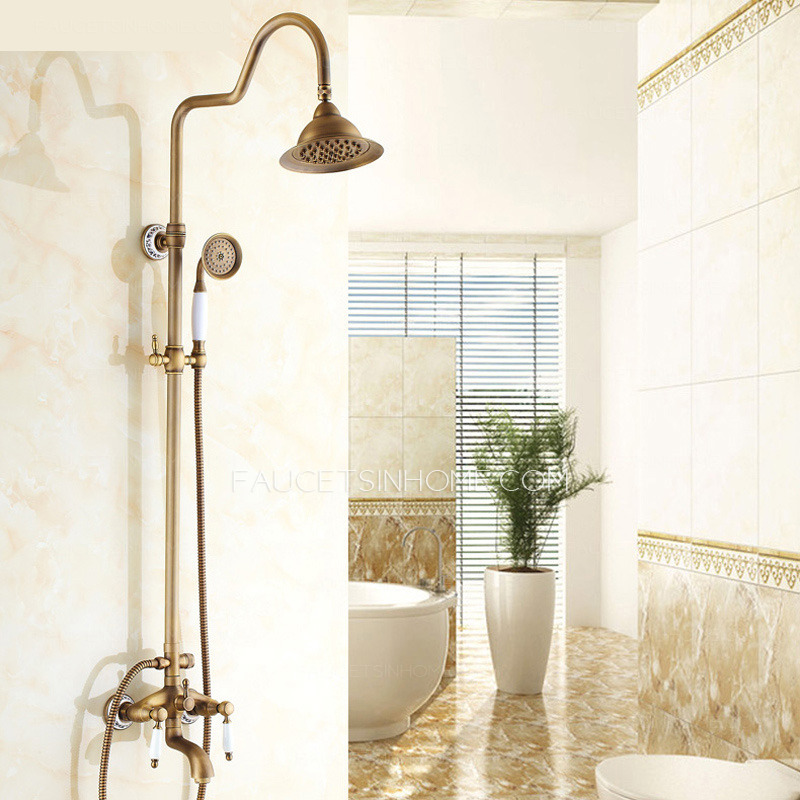 Luxury Antique Brass Ceramic Outdoor Shower Faucets System