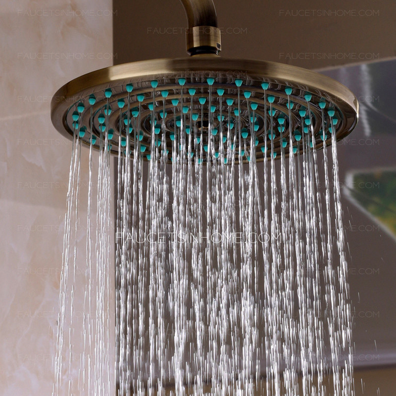 Outdoor Shower Head Part - 18: Classical Antique Brass Outdoor Shower Head And Faucets