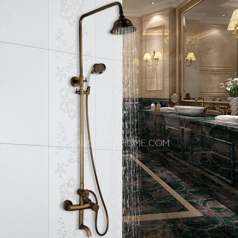 Antique Brass Elevating Outdoor Shower Head And Faucet