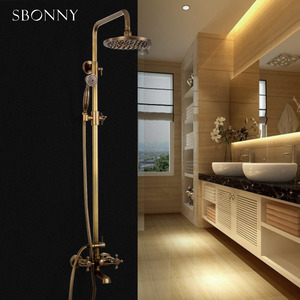 Vintage Two Handle Rotatable Elevating Brass Outdoor Shower Faucets