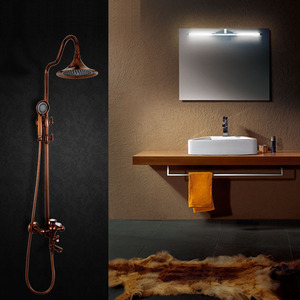 Luxury Rose Gold Brass Outdoor Shower Head And Faucets System