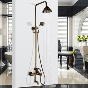 Retro Antique Brass Elevating Exposed Shower Faucets System