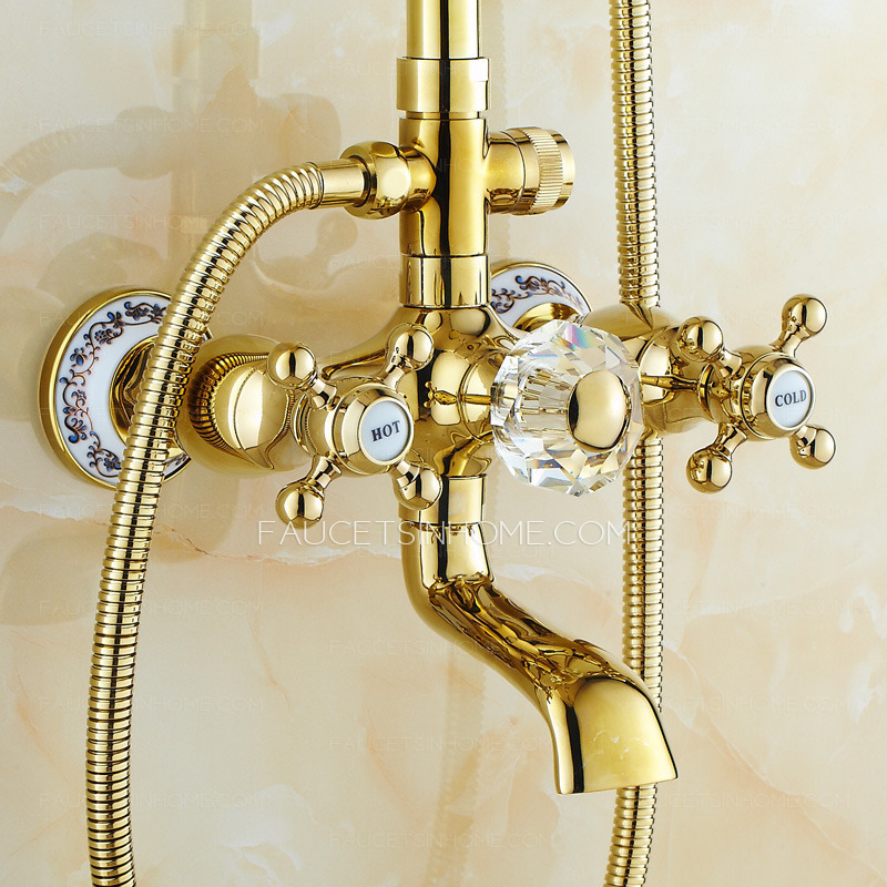 European Style Vintage Handle Ceramic Brass Shower Faucet System