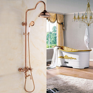 Luxury Rose Gold Two Handle Outdoor Shower Faucet System