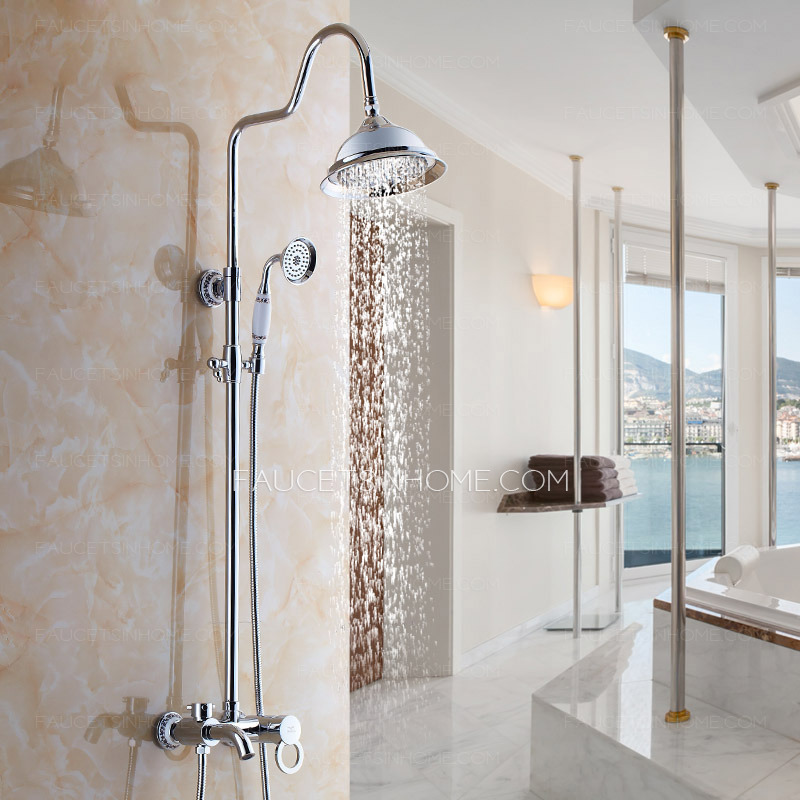 Antique Silver Ceramic Brass Outdoor Shower Faucet System