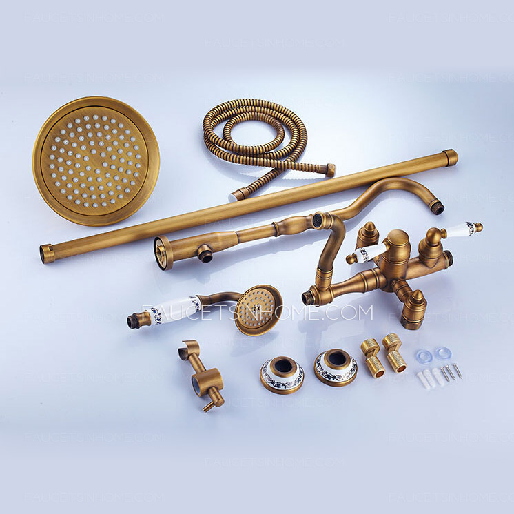 Retro Antique Brass Creamic Exposed Shower Faucet System