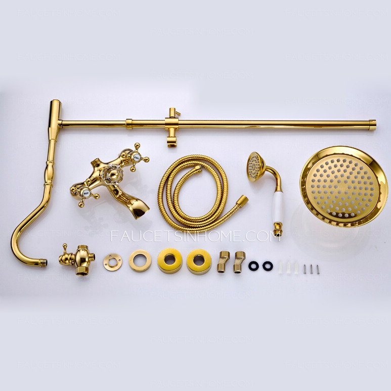 Luxury Polished Brass Vintage Handle Shower Faucet System
