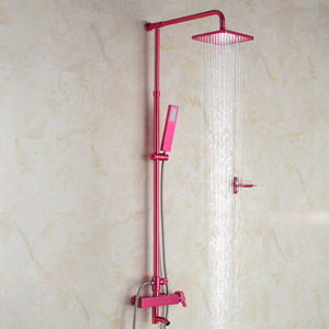 Modern Hot Pink Square Shaped Exposed Shower Faucet System