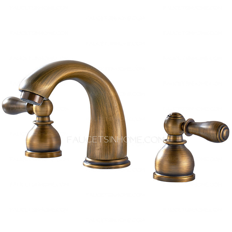 Antique brass two handles wide spread three hole bathroom faucets Antique brass faucet bathroom