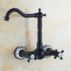 Decorative Oil Rubbed Bronze Two Hole Wall Mount Bathroom Faucets