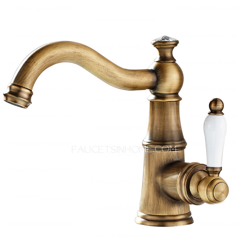 Single hole antique brass porcelain handle bathroom faucets Antique brass faucet bathroom