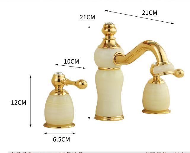 Bathroom Sink Faucets > Luxury Polished Brass Jade Three Hole Bathroom ...