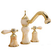 Luxury Polished Brass Jade Three Hole Bathroom Sink Faucets