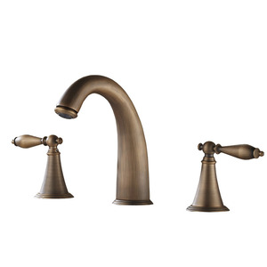 Classical Antique Brass Three Hole Wide Spread Bathroom Faucets