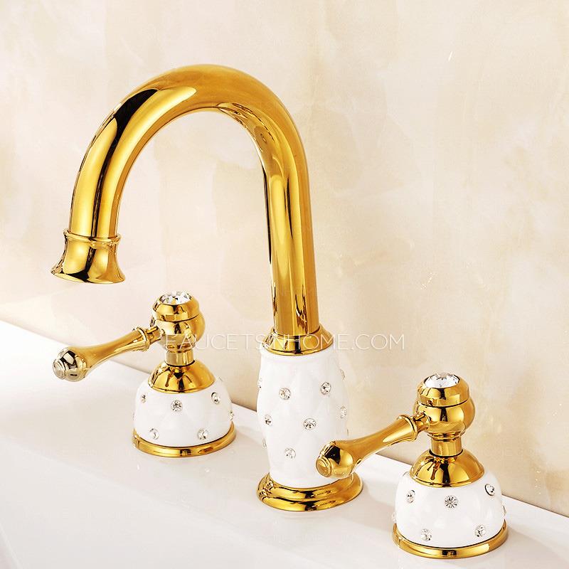 three hole bathroom sink faucet. Luxury Brass White Ceramic Three Hole Bathroom Sink Faucets