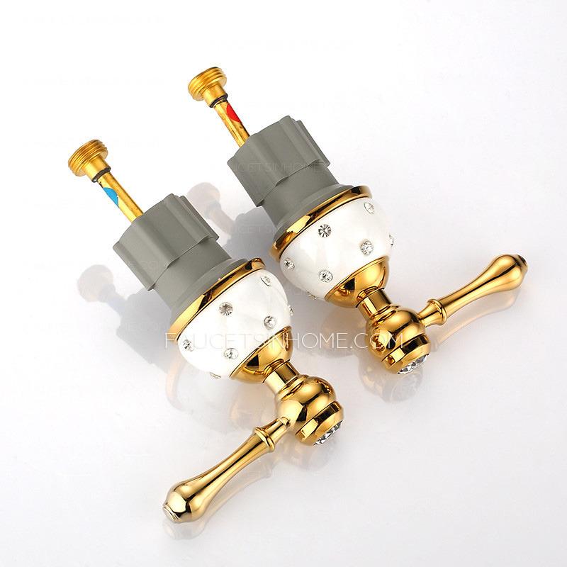 Three Hole Bathroom Sink Faucet : Luxury Brass White Ceramic Three Hole Bathroom Sink Faucets