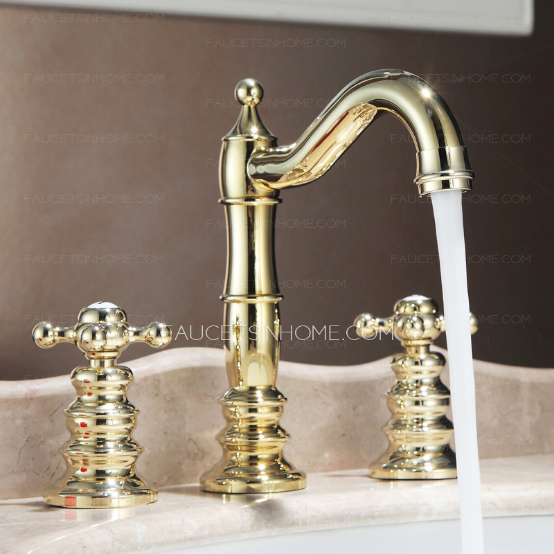 Three Hole Bathroom Sink Faucet : Home > Bathroom Sink Faucets > High Quality Golden Brass Three Hole ...