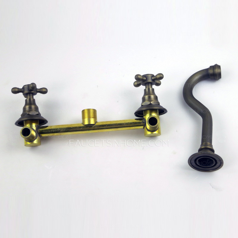 Vintage Wall Mount Three Hole Antique Brass Bathroom Faucets