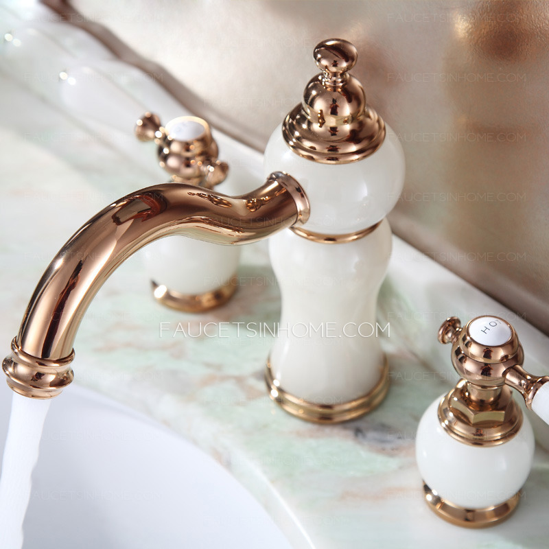 Three Hole Jade Rose Gold Bathroom Sink Faucets