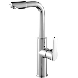 Heightening Brass Double-Rotation Kitchen Faucets Vessel Mounted