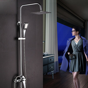 Modern Square Top Shower System With Under Faucet