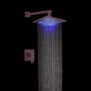 Modern Square Shaped Concealed LED Top Shower Faucet