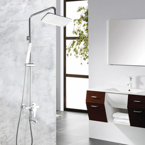 Modern White Outdoor Wall Mount Shower Faucet System