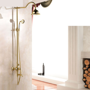 Vintage Gold Brass Wall Mounted Shower Faucets System