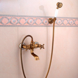 Antique Brass Wall Mounted Hand Shower Only Tub Faucets