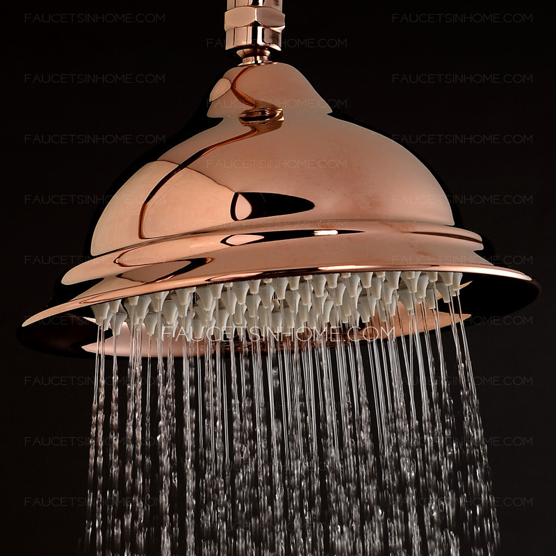 Rose Gold Top Shower Head And Faucets System