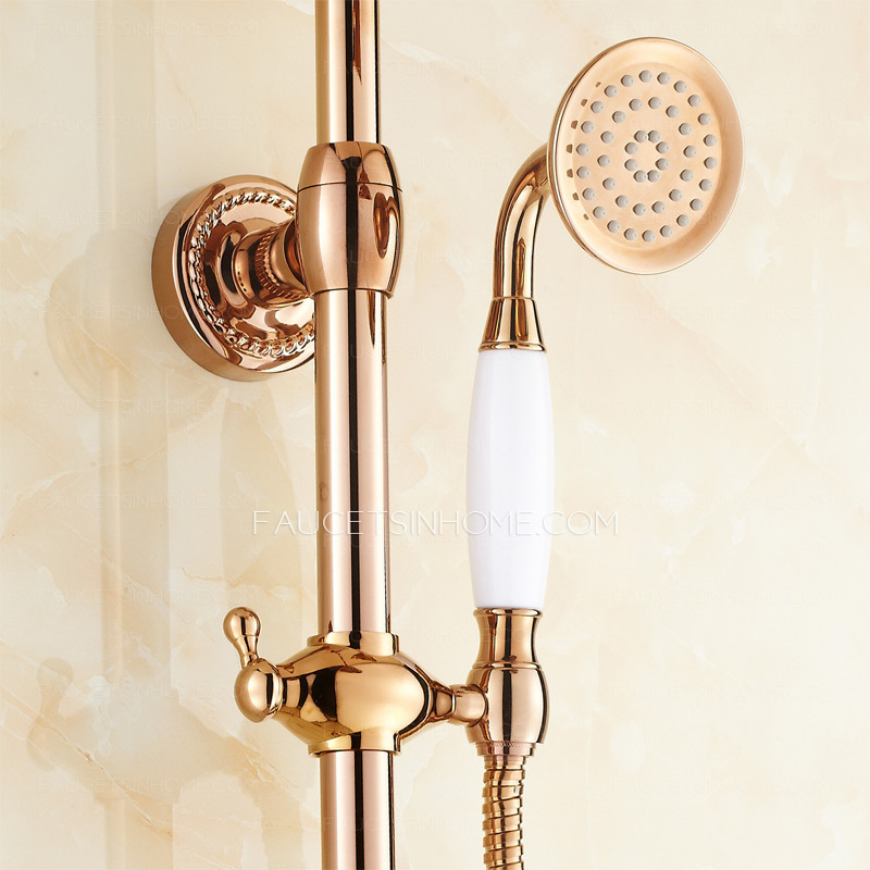 luxury brass rose gold 2 handle outdoor shower faucets