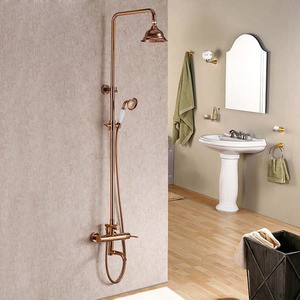 Quality Brass Outdoor Rose Gold Shower Faucets System