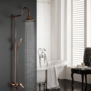 Antique Rose Gold Brass Elevating Outdoor Bathroom Shower Faucets