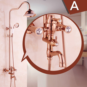 Classical Brass Rose Gold Top Bathroom Shower Faucets System