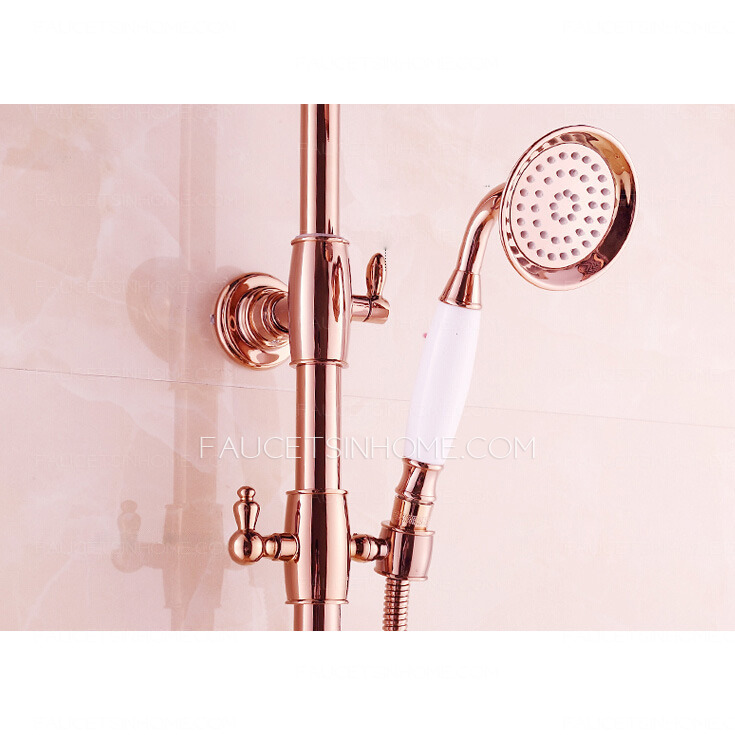 Highest Rated Bathroom Faucets: Top Rated Rose Gold Brass Exposed Bathroom Shower Faucets