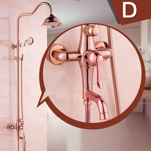 Top Rated Rose Gold Brass Exposed Bathroom Shower Faucets