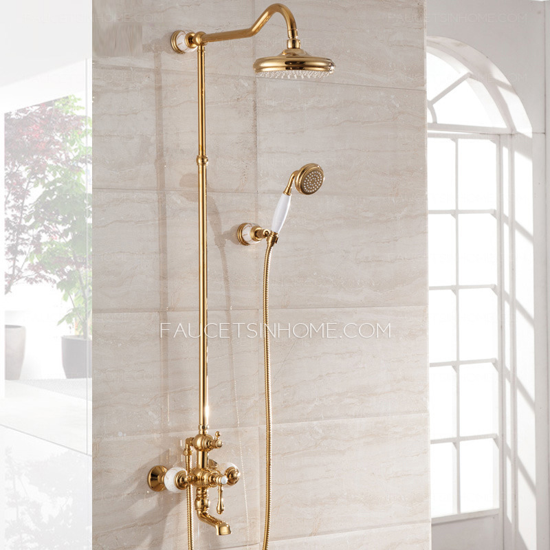 High End Ceramic Rose Gold Outside Brass Bathroom Shower
