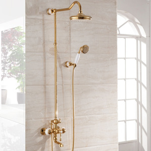 High End Ceramic Rose Gold Outside Brass Bathroom Shower Faucets