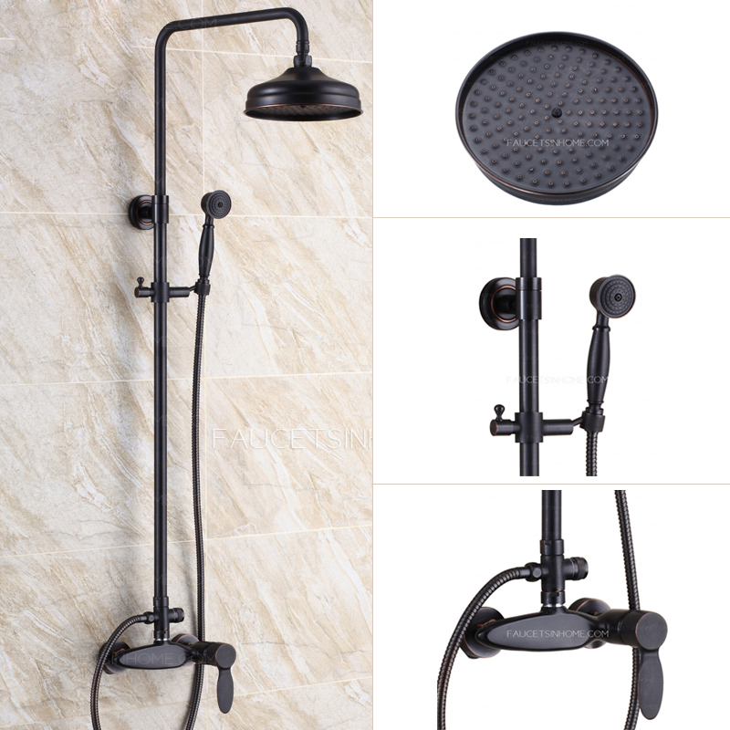 Retro Black Oil Rubbed Bronze Bathroom Exposed Shower Faucets