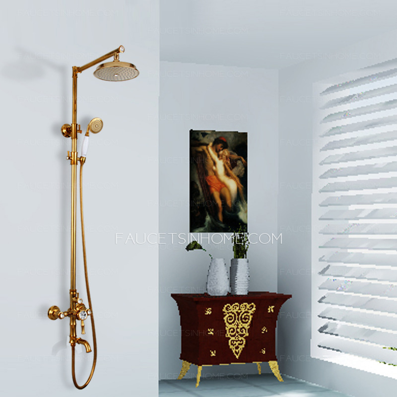 . Luxury Polished Crystal Brass Bathroom Shower Heads And Faucets