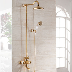 Antique Brass Rose Gold Marble Outdoor Shower Faucets