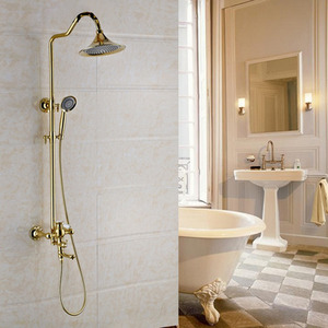 Classical Brass Exposed Bathroom Shower Faucets Hand Shower In