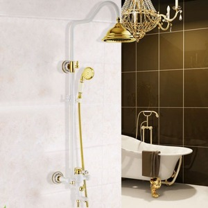 Retro Brass White Painting Ceramic Outside Shower Faucets